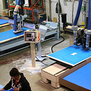 Overhead shot of laser cutting machine